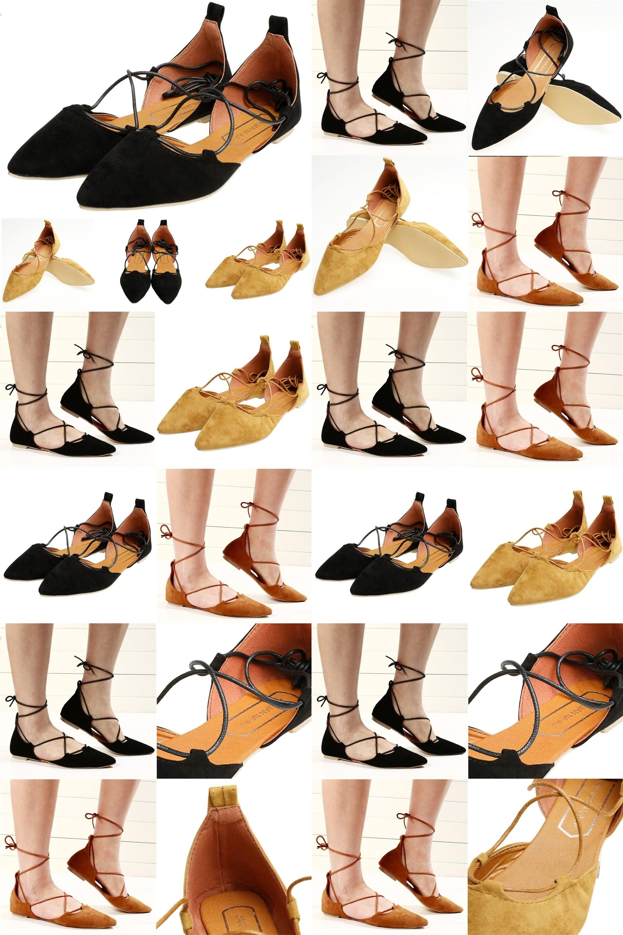 a542c4a1c558  Visit to Buy  2017 Spring Summer Women Black Suede Pointed Toe Cross  Strappy Lace Up Ballerina Ballet Flat Shoes