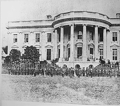 When the war began Kentuckian Cassius Clay, newly appointed minister to Russia, organized troops to guard the White House.  Members of the Kansas Frontier Guard camped in the East Room.