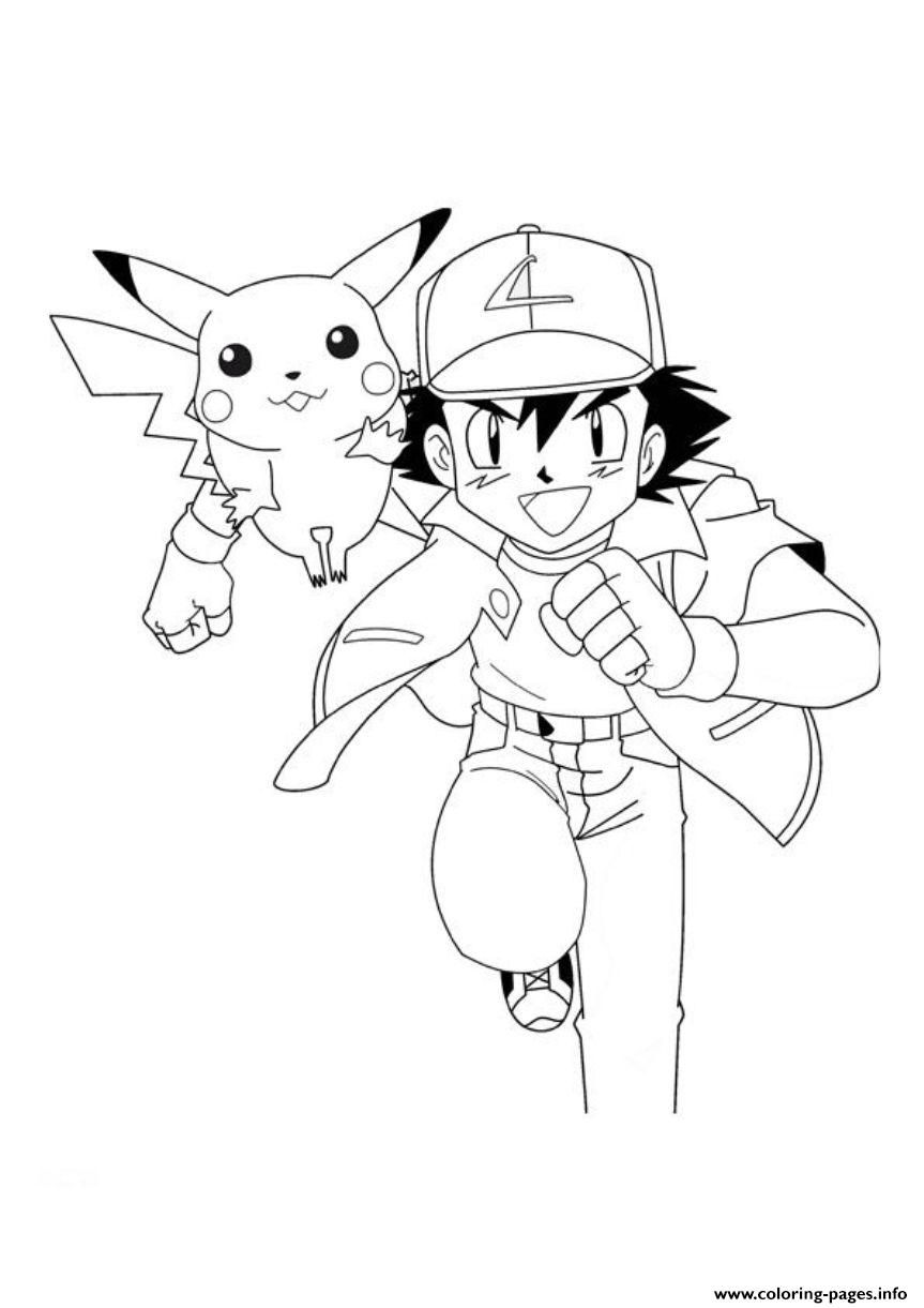 print pokemon ash and pikachu sd5a0 coloring pages