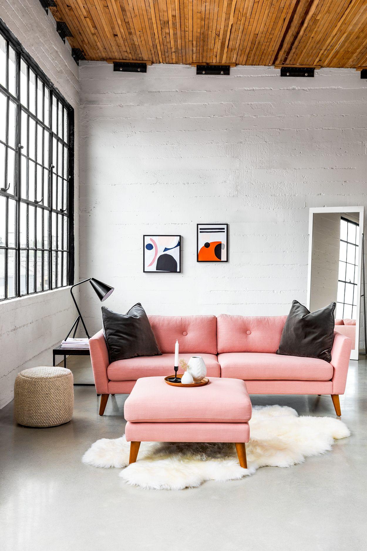 Emil Quartz Rose Sofa Comfortable