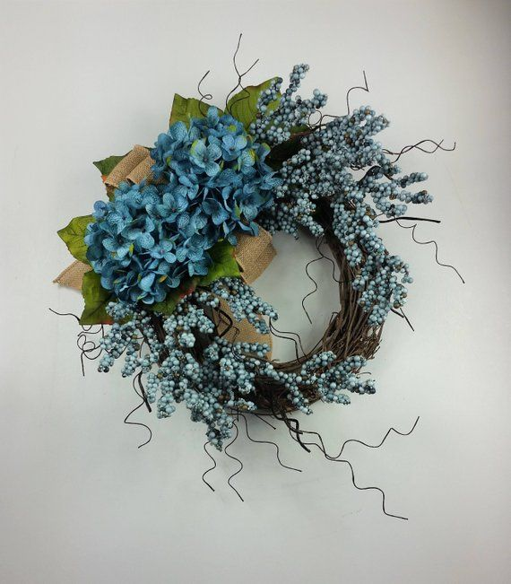 Photo of Hydrangea wreath, Everyday wreath, Rustic wreath, Farmhouse wreath, Summer wreath, Easter wreath, Spring wreath, Hydrangeas
