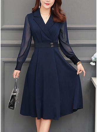 VERYVOGA Solid Long Sleeves A-line Knee Length Vintage/Elegant Dresses -   16 dress Designs casual ideas