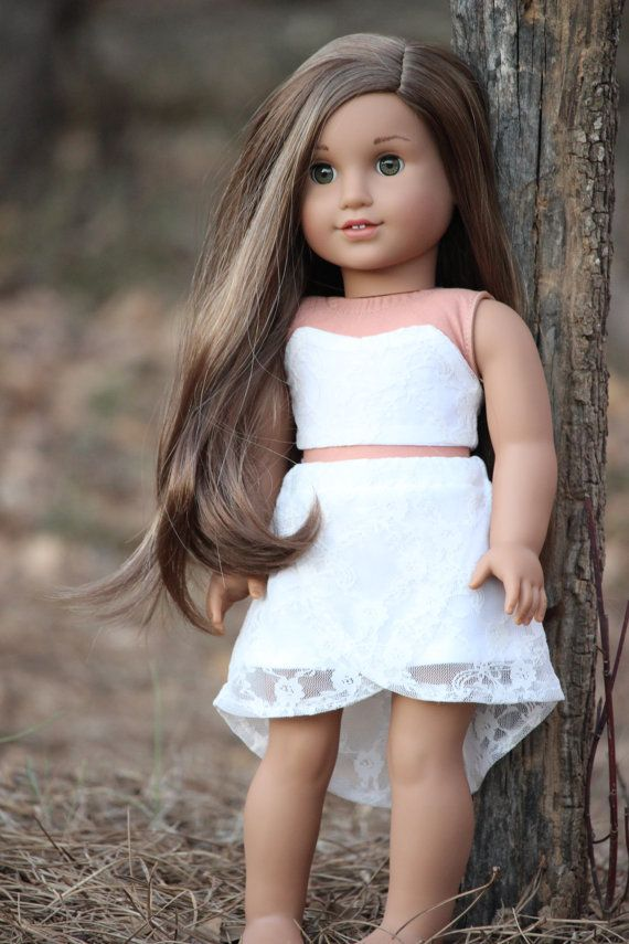 Lace high low skirt made to fit American Girl doll by MegAGDolls #dollclothes