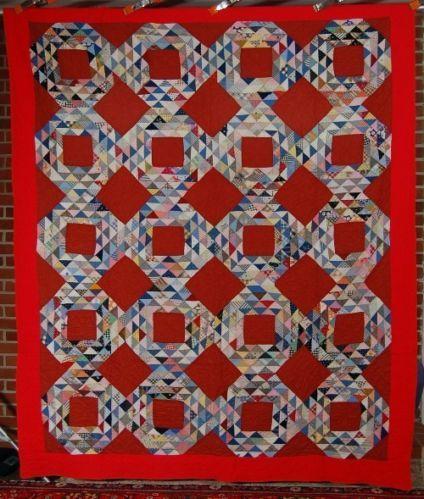 DAZZLING Vintage 40's Ocean Waves Antique Quilt ~NICE VIBRANT RED BACKGROUND!