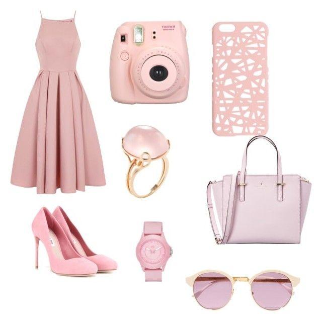 """Little Ms. Pink"" by azaria-cochrane on Polyvore featuring Chi Chi, Fujifilm, Goshwara, Miu Miu, Sheriff&Cherry, Miss Selfridge, Kate Spade and Skechers"