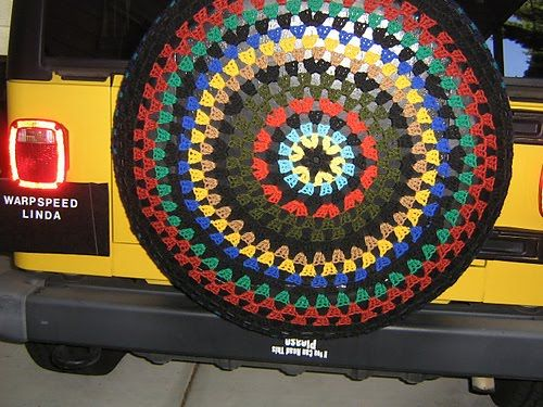 Saw a jeep with a crocheted tire cover yesterday....Love it!