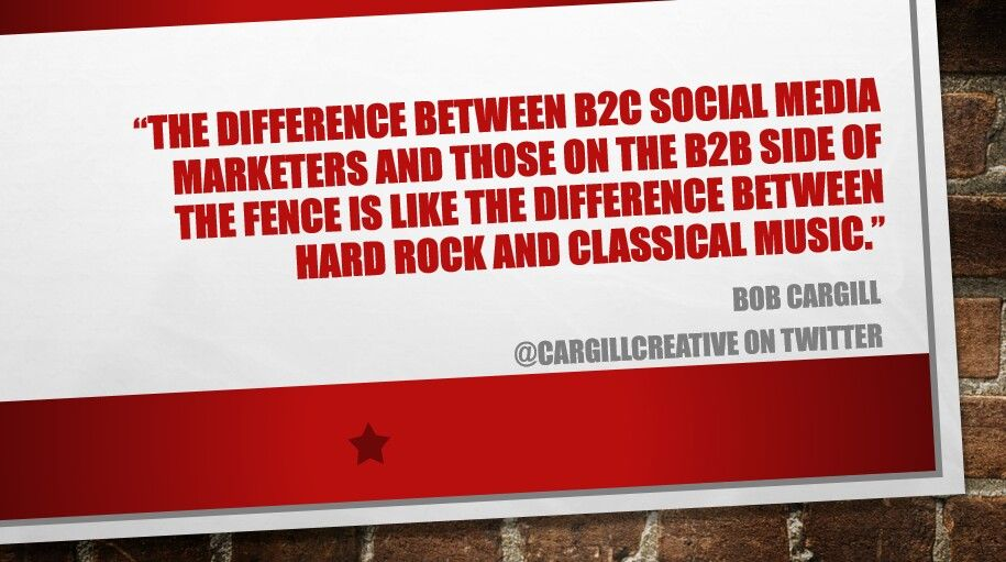 The difference between B2C #SocialMedia marketers and those on the B2B side of the fence is like the difference between hard rock and classical music.