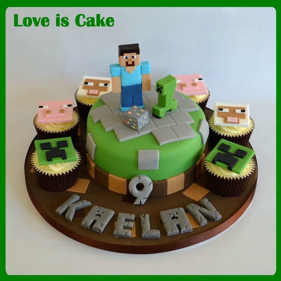 Minecraft Cake And Cupcakes Raylan 8th birthday Pinterest