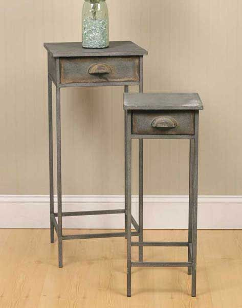 Black Metal Bedside Tables: 2 New Country Distressed Barn Gray Metal Bedside Stands W