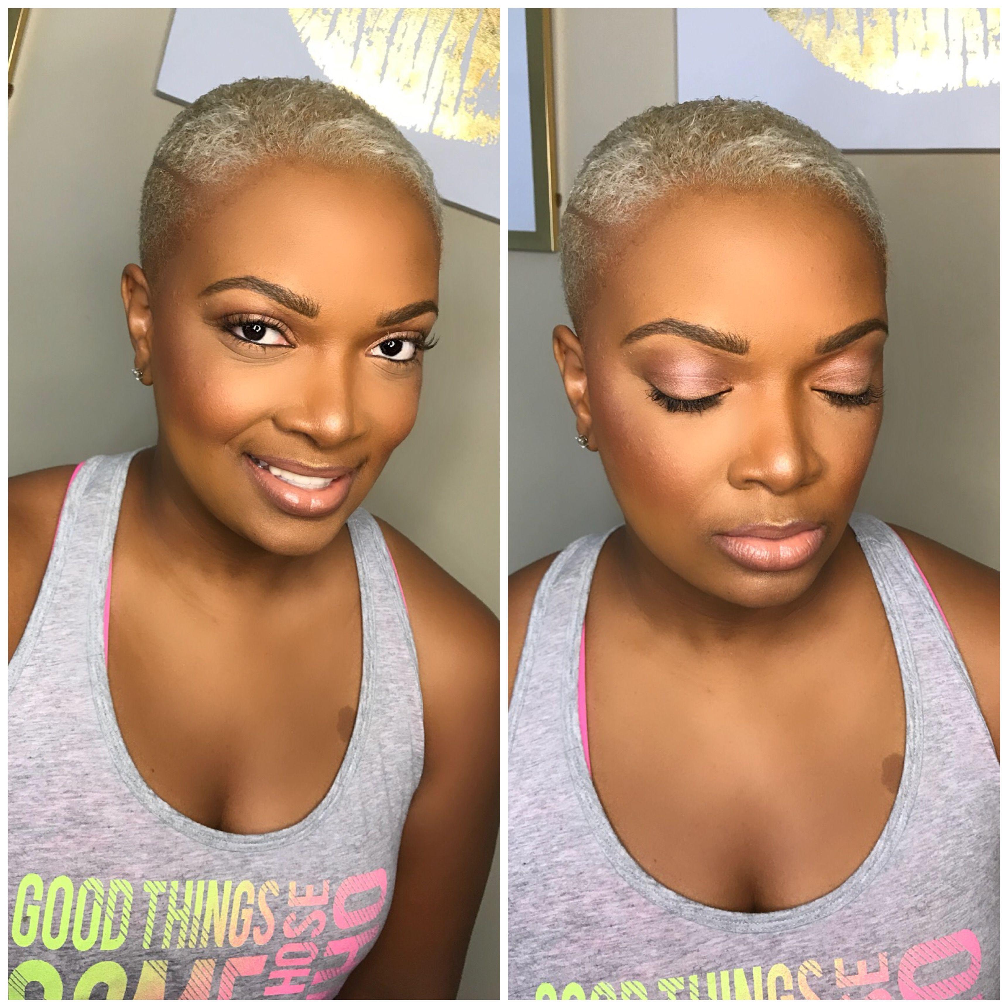 natural makeup. pixie cut. short hair. blonde hair. soft makeup