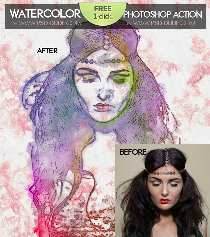 Watercolor Photoshop Free Action Photoshop Watercolor Photoshop