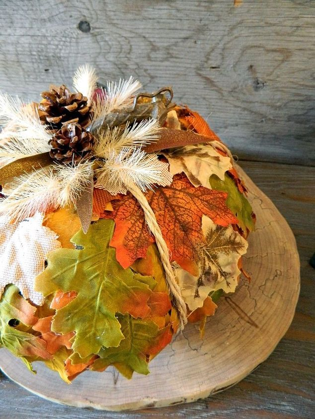 easy leafy pumpkin, crafts, gardening, lawn care, seasonal holiday decor, woodworking projects
