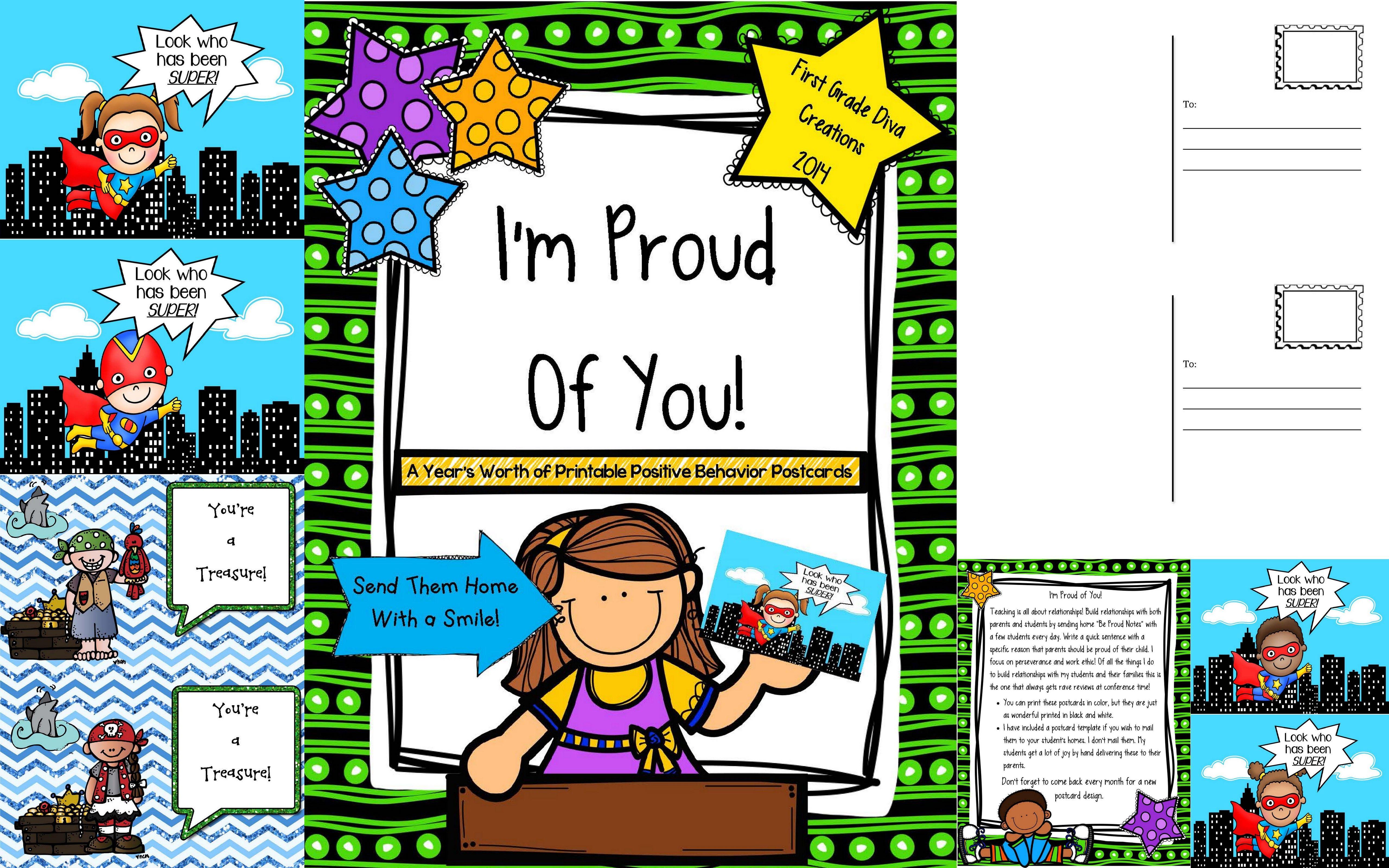 Printable Positive Behavior Postcards