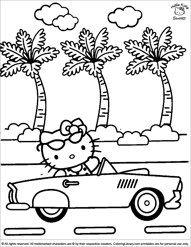 Hello Kitty Coloring Page Kitty Is Driving Off In The Sun
