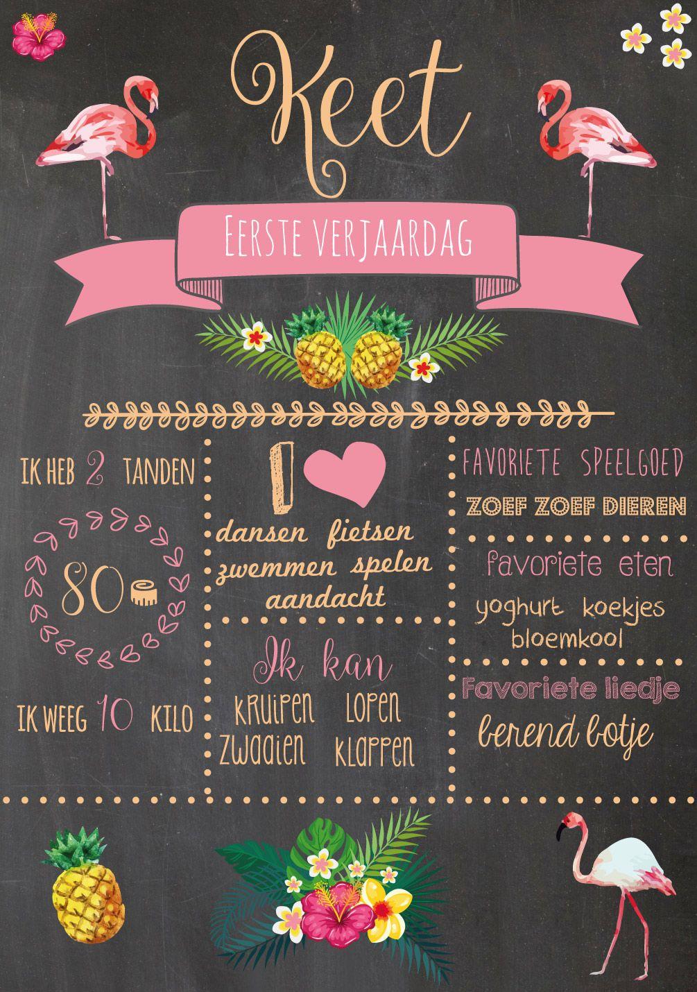 Mijn Eerste Dingen Verjaardag Eerste Verjaardag 1 Jaar Tropical