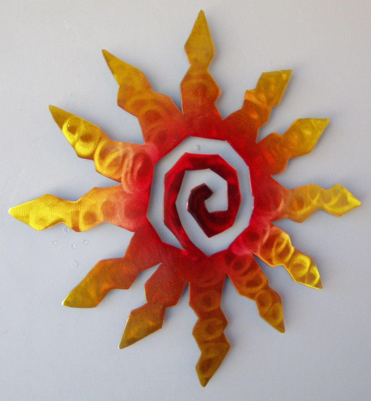 Sun burst spiral metal wall art sunset swirl finish with red
