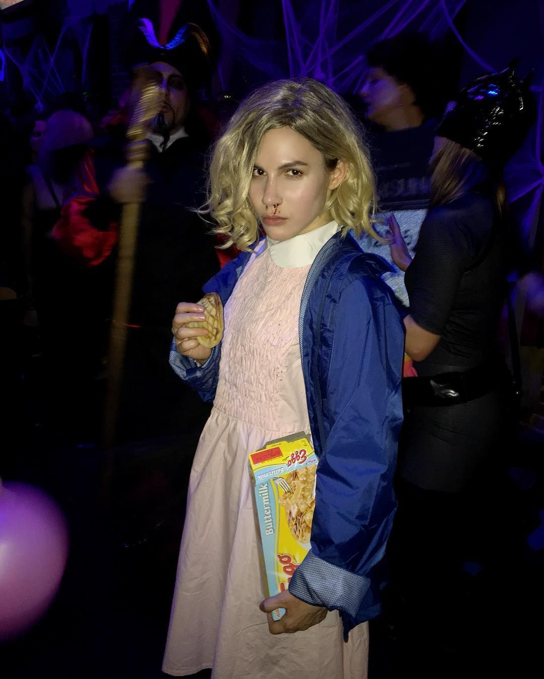 The Most Outrageously Awesome Celeb Halloween Costumes Celebrity Halloween Costumes Pink Long Sleeve Dress Eleven Dress