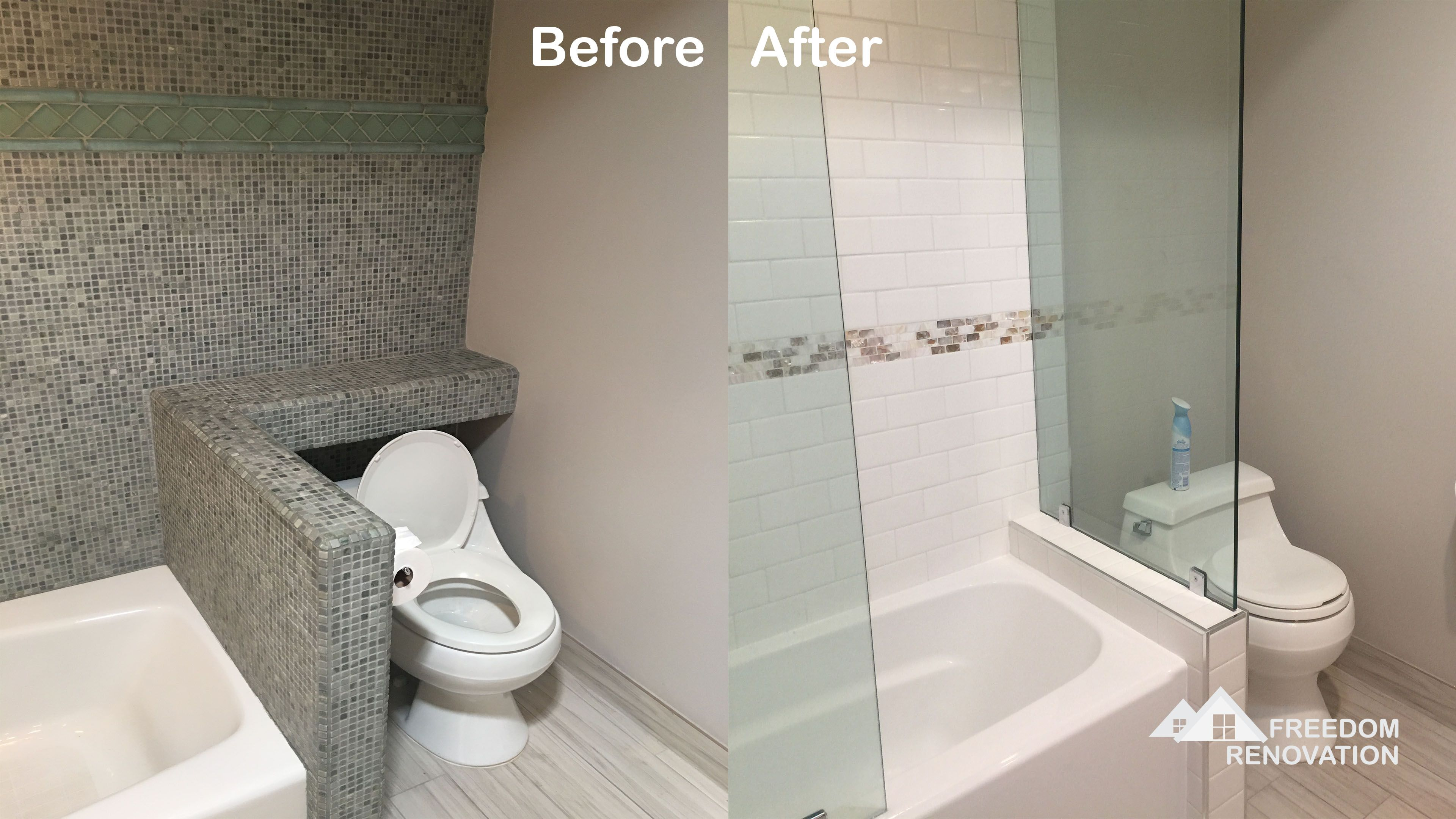 Before And After Of A Bathroom Remodel Brought To You