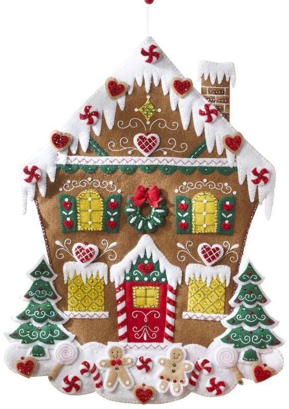 Пряничные домики из фетра поделки Pinterest Advent calendars