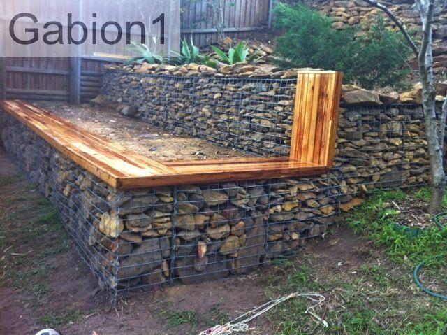 Gabion Retaining Wall. | Front Yard Landscaping | Pinterest
