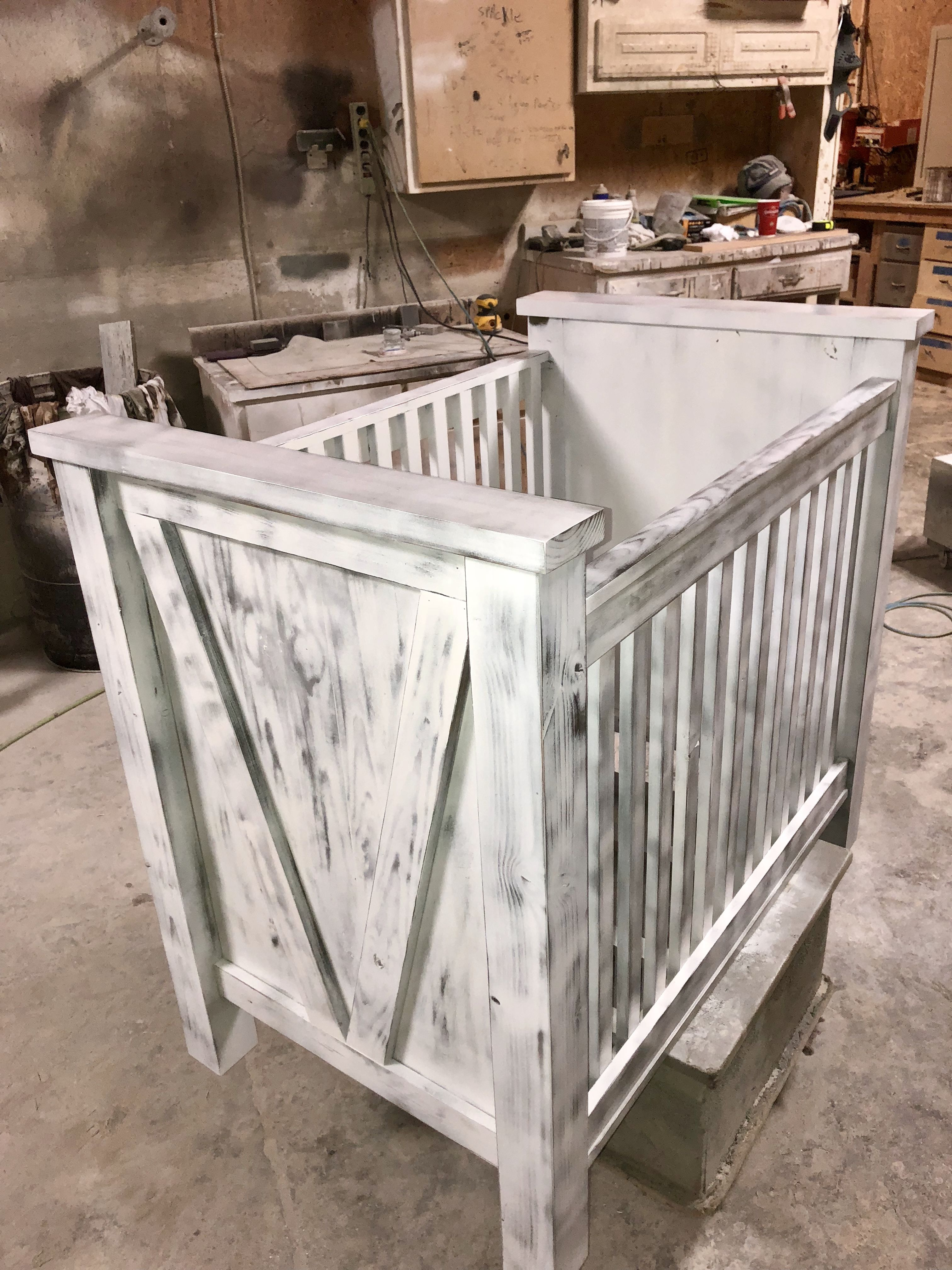 Barn-wood style crib with stain and white wash finish ...