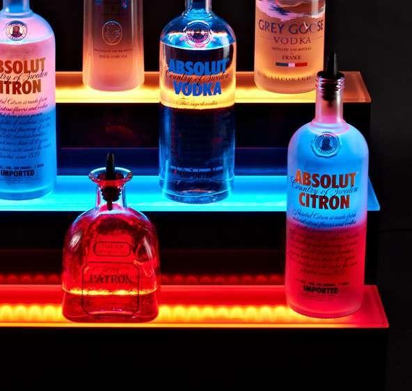 Illuminated led bar shelves liquor shelves and bar for Glass bottle display ideas
