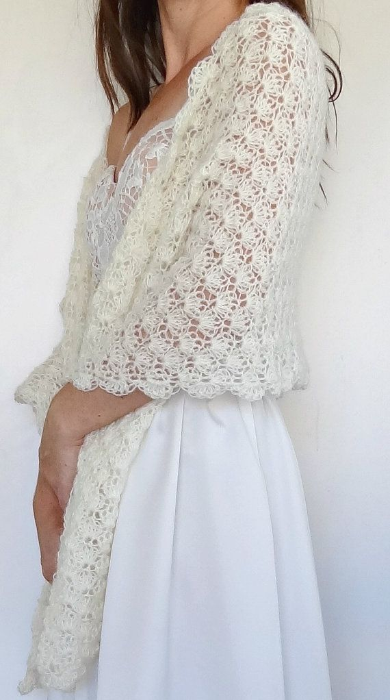 Vintage Ivory Crochet Bridal Wrap Wedding Shawl Winter Wedding Cover Up Ready To Ship Tig Isi Ceket Orme Sal Sal Desenleri