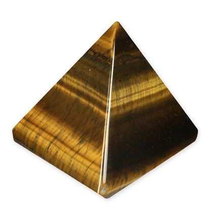 "Tiger Eye Pyramid - YTE2 - Mini. Stone Types: Tiger Eye. Height: 0.98"". Birth Signs: Leo. Chakras: Solar Plexus."