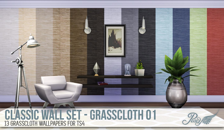 Simsational Designs: Classic Wall Set - Grasscloth 01