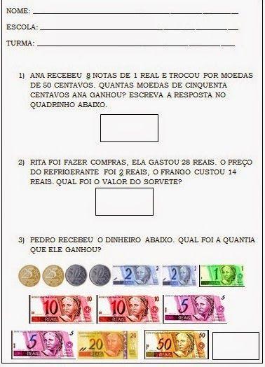 Sistema Monetario Real Cedulas E Moedas Atividades