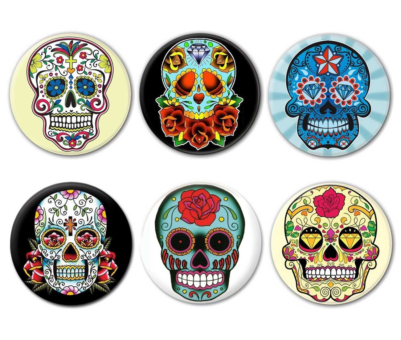lot de 6 badges calavera t te de mort mexicaine sugar. Black Bedroom Furniture Sets. Home Design Ideas