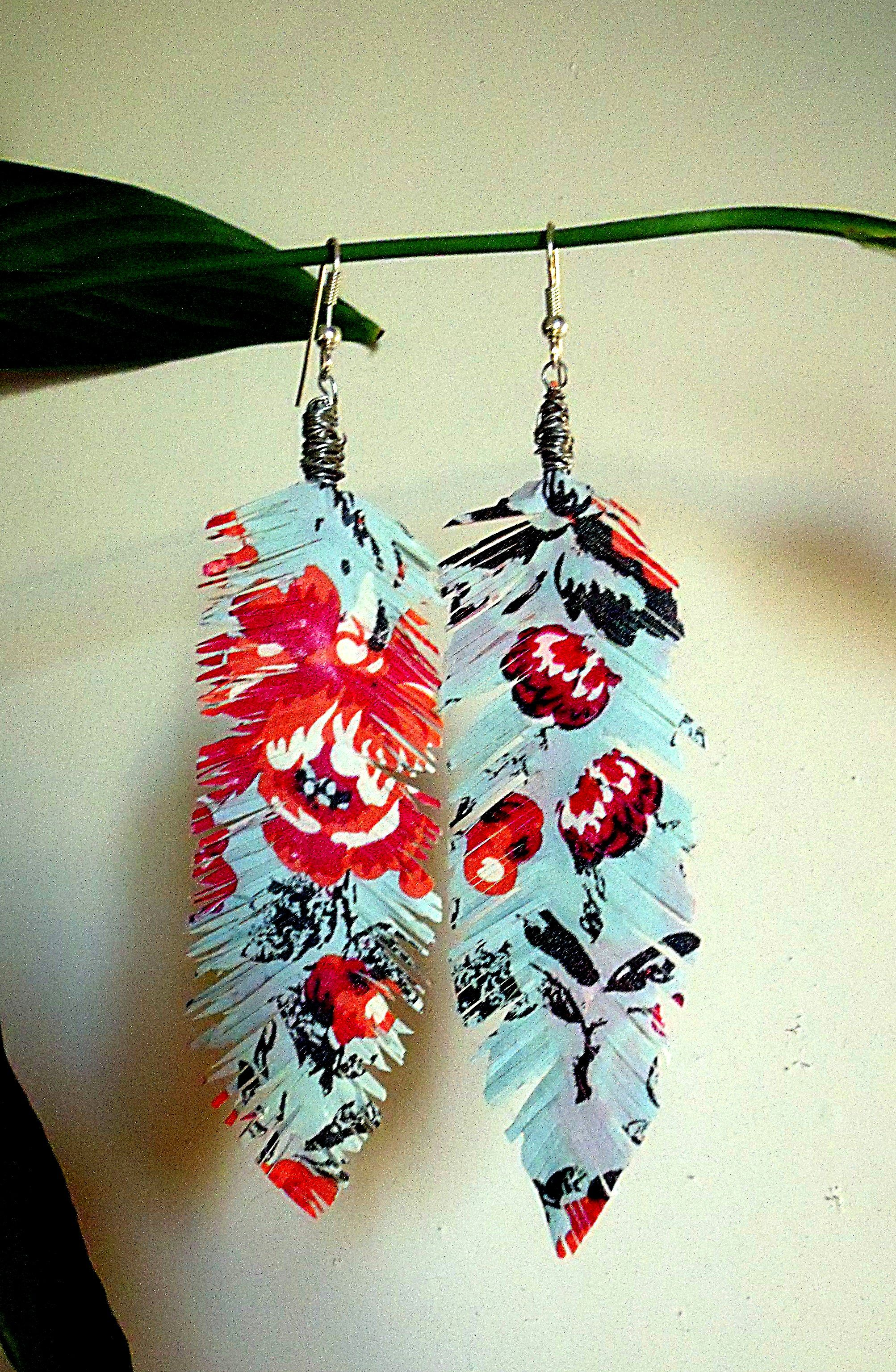 Floral washi tape feather earrings