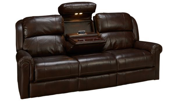 Synergy Palermo Synergy Palermo Leather Power Sofa Recliner With Tray Jordan S Furniture Recliner Family Room Colors Reclining Sofa