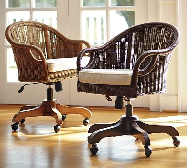 wingate rattan swivel desk chair, pecan stain & cushion | rattan