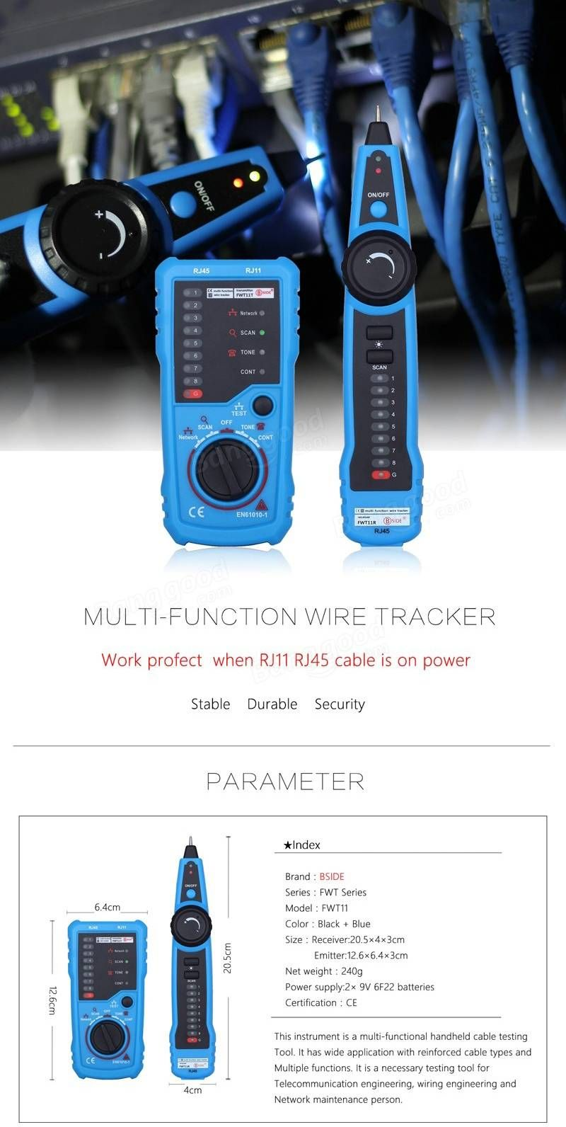 Bside Fwt11 Rj11 Rj45 Wire Tracker Tracer Telephone Ethernet Lan Cable Wiring Network Continuity Tester Detector Sale