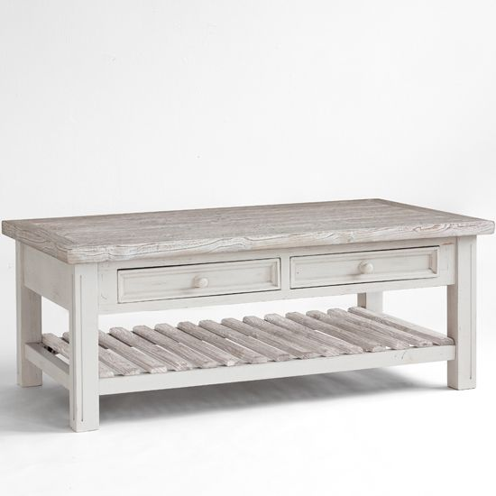 Opal Coffee Table In White Pine Farmhouse Style Wooden