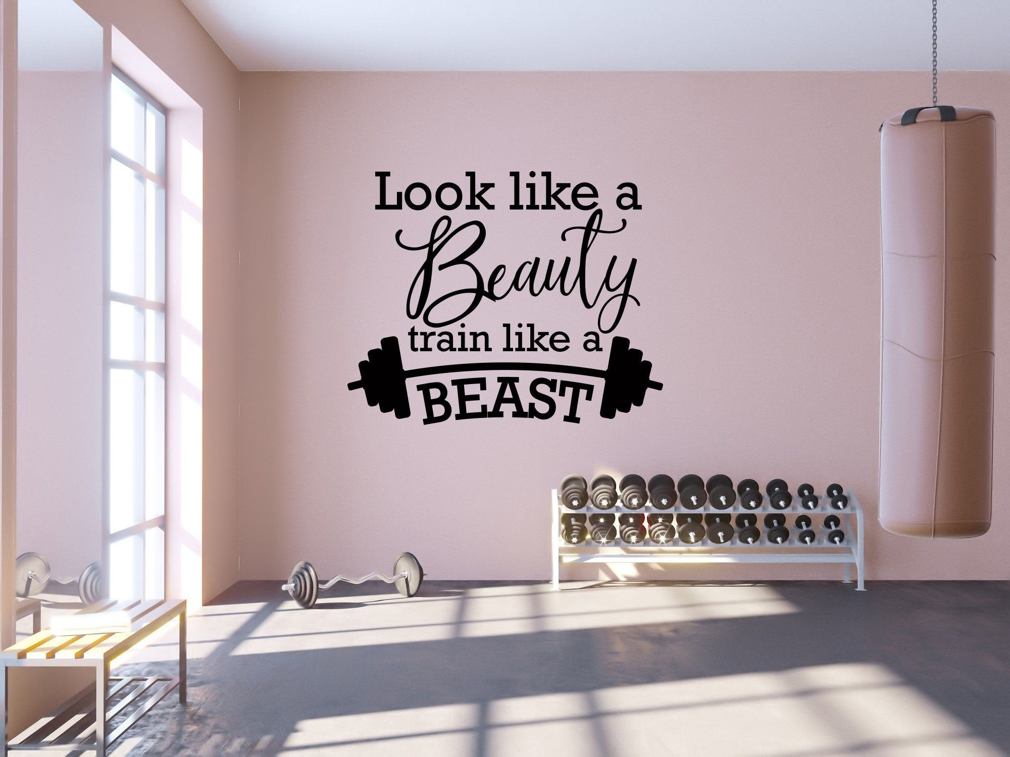 Gym Wall Decal Look Like A Beauty Train Like A Beast Etsy In 2021 Gym Wall Decor Gym Room At Home Gym Wall Decal