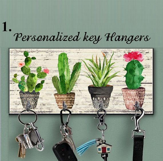Wooden Cactus key holder for wall, Cactus wall decor, Tropical wall decor,Hook key,Organizer wall key rack, Cactus key storage,Custom hanger