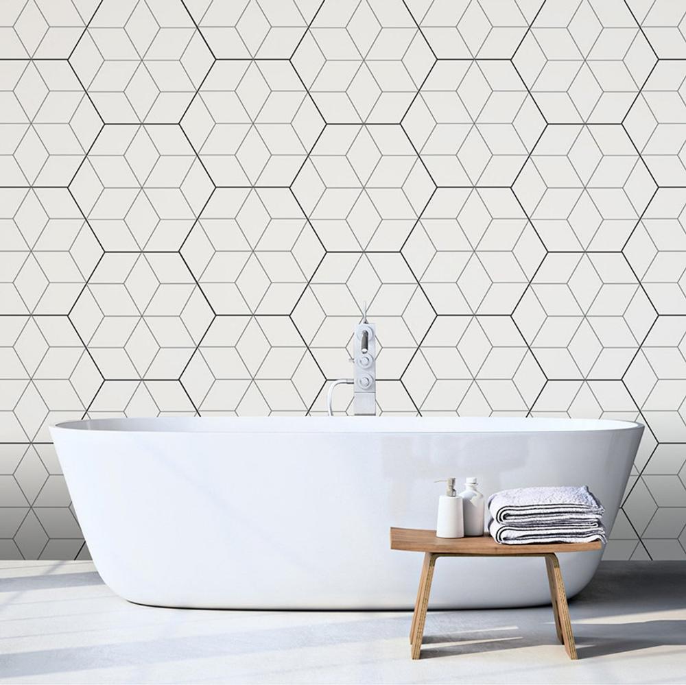 Black and White Geometric Wallpaper Hexagon Pattern