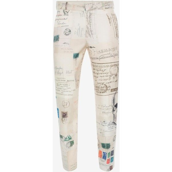 "Alexander McQueen ""letters From India"" Print Trousers (2.335 BRL) ❤ liked on Polyvore featuring men's fashion, men's clothing, bottoms, multicolor and alexander mcqueen"