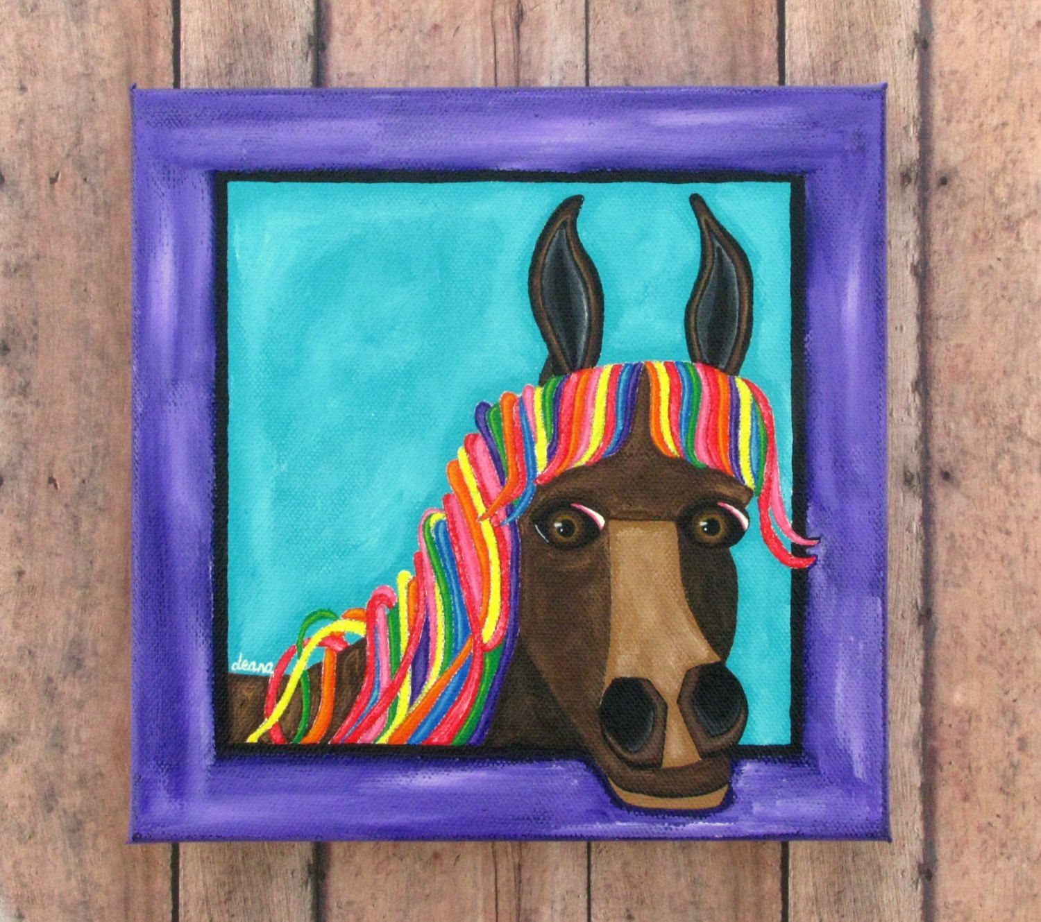 Rainbow horse painting original art on gallery canvas horse wall