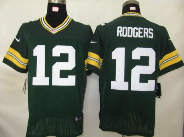 nike green bay packers 12 rodgers green jersey(elite) xl 52