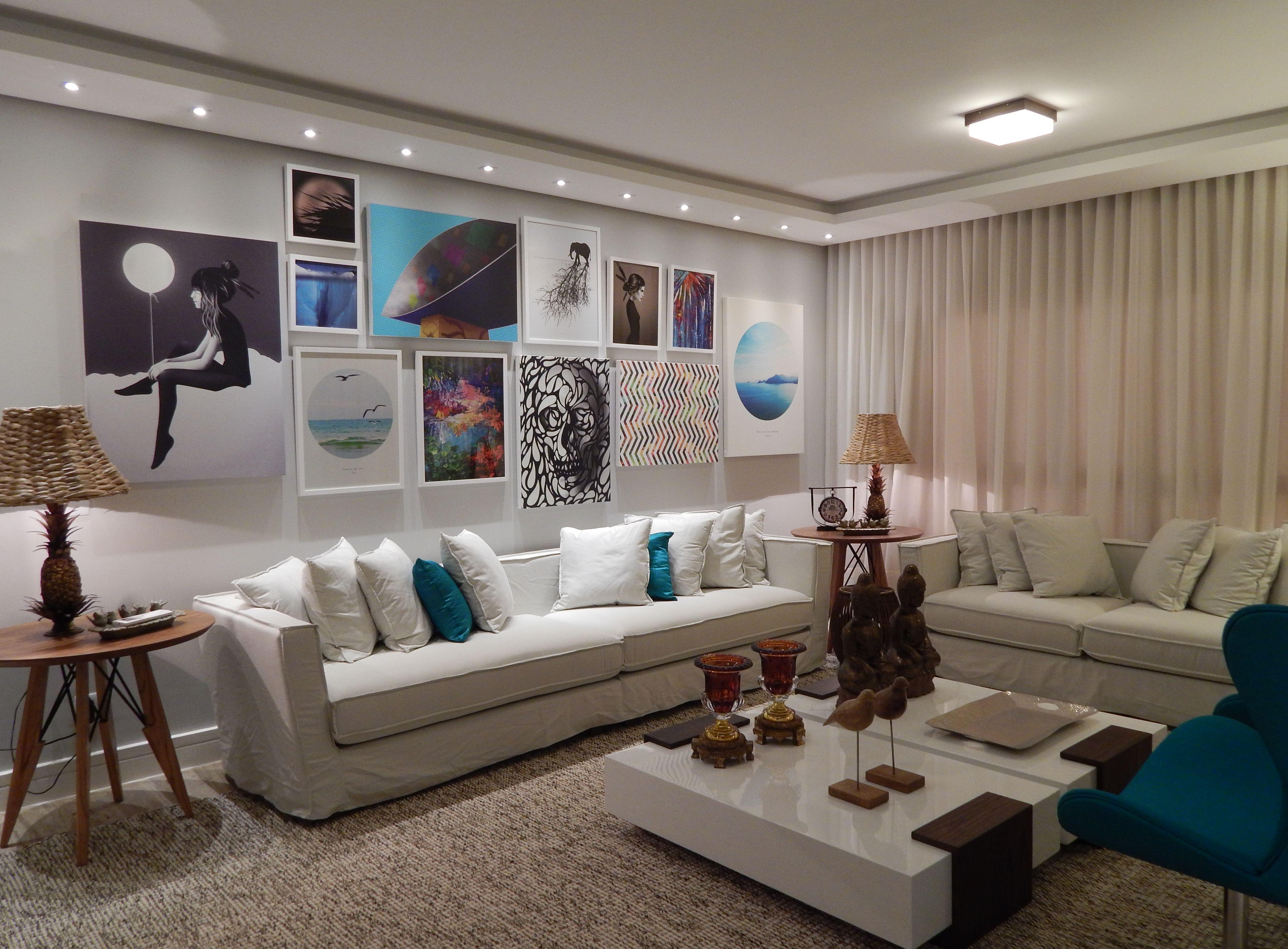 Sala De Estar 2014 Arquiteta Barbara Panassi Azul Turquesa  -> Sala Parede Gelo