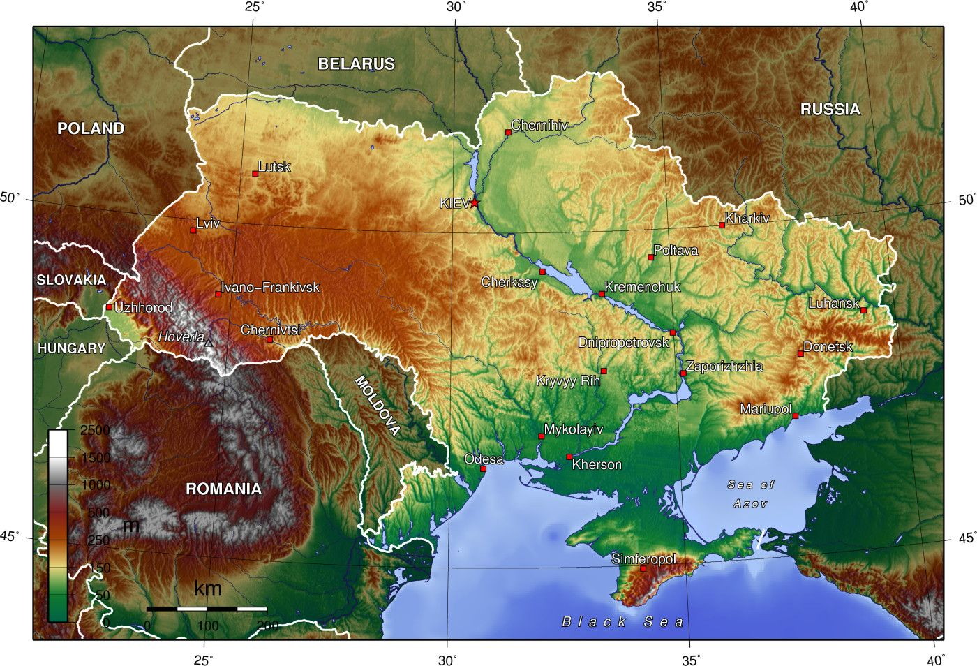 Topographic map of Ukraine interesting map Maps Pinterest