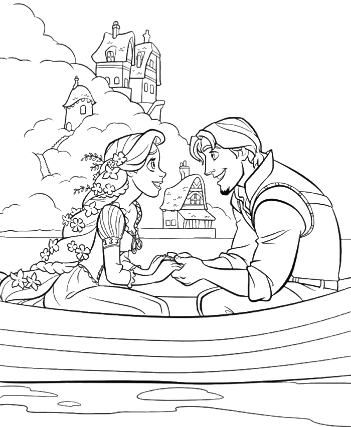 princess rapunzel dating with flynn rider coloring pages princess coloring pages kidsdrawing free