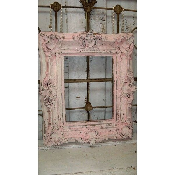 Distressed Wall Decor pink frame ornate shabby chic wood hand painted chippy cracked