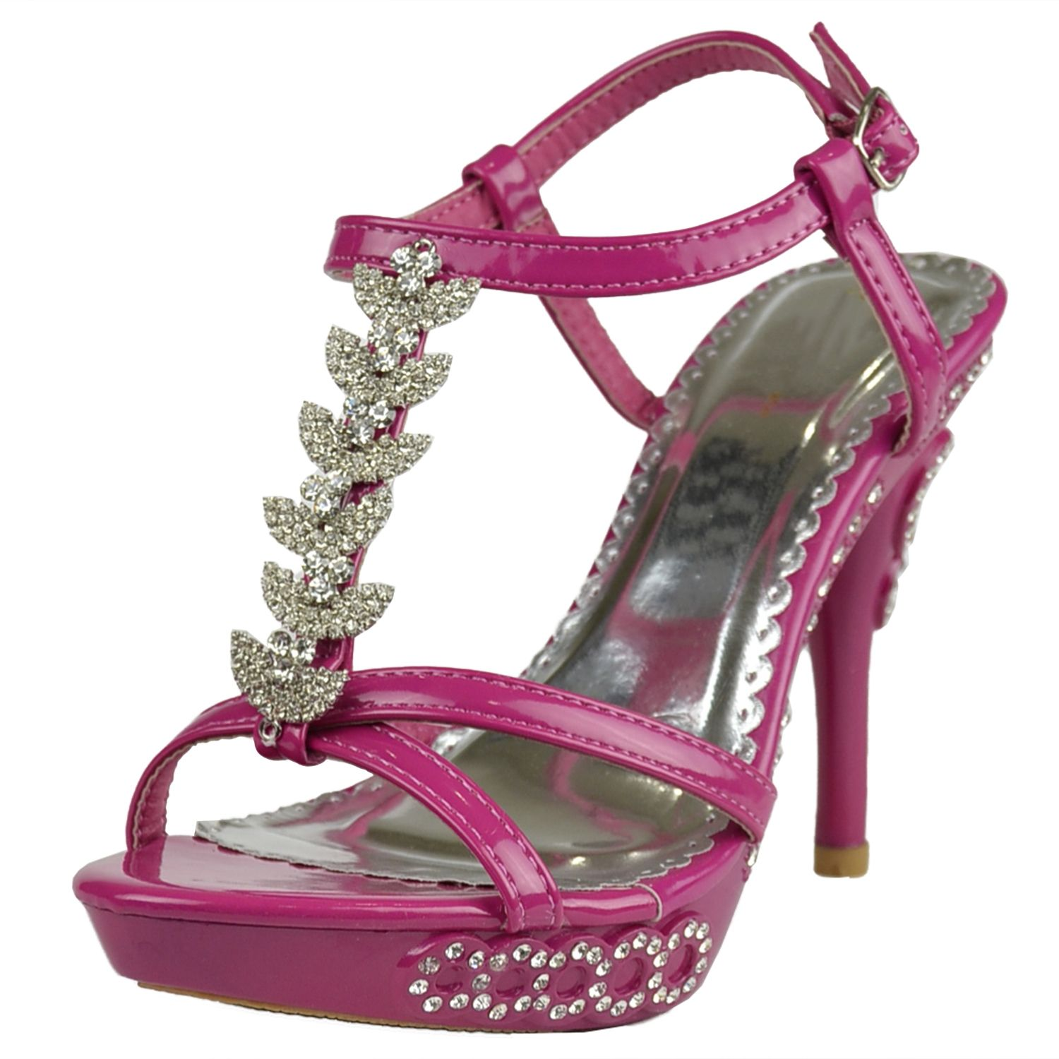 aa25ae9e4282b7 Womens Dress Sandals Angel Wing Rhinestones T Strap High Heel Shoes Fuchsia