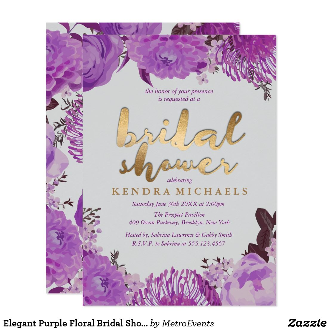 Elegant Purple Floral Bridal Shower Invitations Floral Wedding