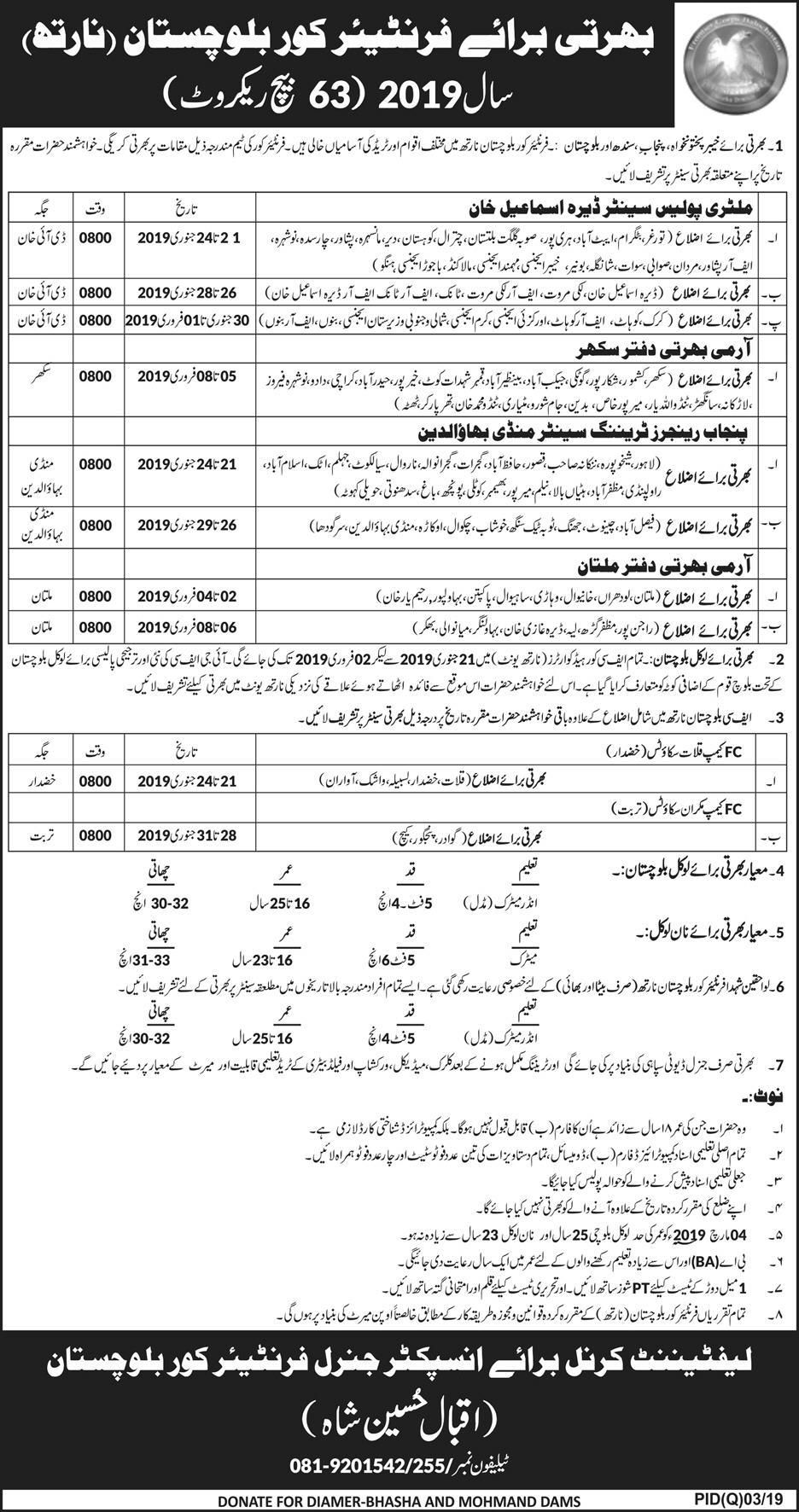 FC Balochistan Jobs 2019 Frontier Corps Latest Multiple Cities