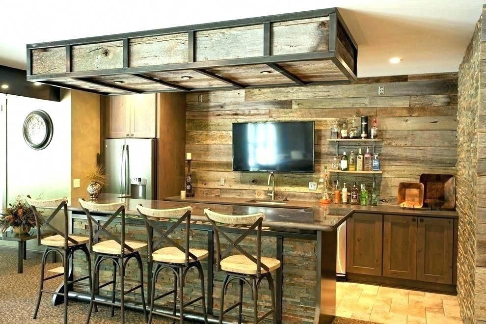 Industrial Basement Bar Ideas Rustic Home With Stone Pub